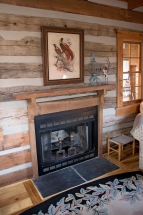 fireplace in cabin sitting area