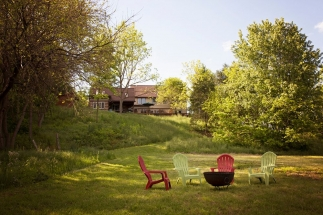 view of River Bluff Farm B&B from bank of Shenandoah River