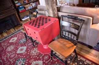 vintage game table in main sitting area